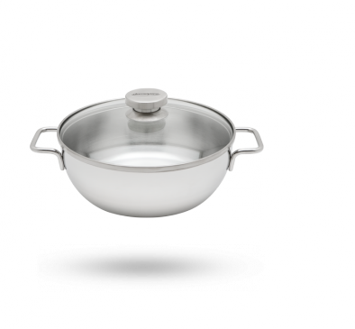 Conical simmering pan with glass lid