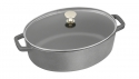 Wide Oval Cocotte with Glass Lid