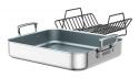 Brushed Stainless Steel Ceramic Nonstick Roasting Pan