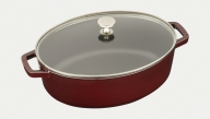 Shallow Wide Oval Cocotte with Glass Lid
