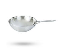 5-qt Stainless Steel Flat Bottom Wok with Helper Handle