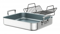 Polished Stainless Steel Ceramic Nonstick Roasting Pan