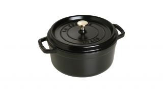 24cm Round Cast Iron Cocotte Black