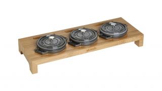 Servierbrett für 3 runde Mini-Cocottes,Holz