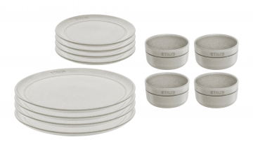 4 Person Ceramic Dinnerware Set White Truffle