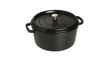 28cm Round Cast Iron Cocotte Black