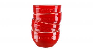 Set Of 4 Ceramic Bowls Cherry