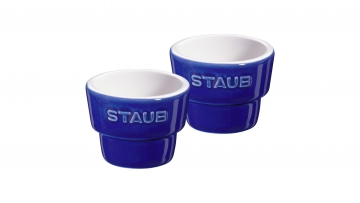 Set of 2 Egg Cups, Dark Blue