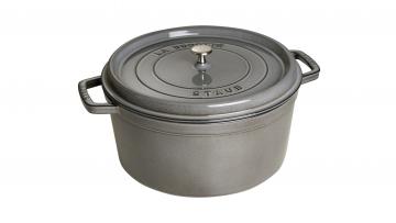 34cm Round Cast Iron Cocotte Graphite Grey