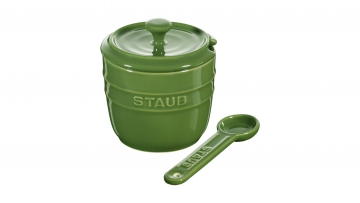 Zuckerdose mit Löffel 9cm, basilikumgrün