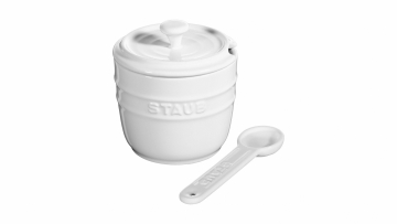 Sugar Bowl with spoon 9cm, white