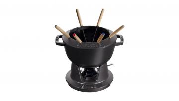 Juego de fondue negro, 20 cm