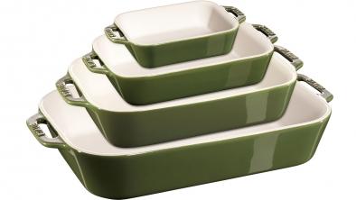 Juego de fuentes cerámicas verde albahaca