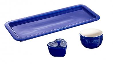 Juego de servicio de cerámica azul