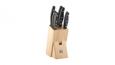 Knife block, natural wood, 9 pcs.