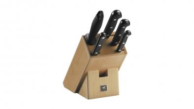 Taco de cuchillos de madera natural, 6 piezas