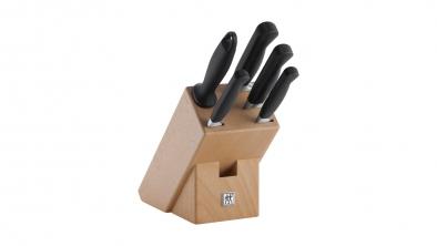 Taco de cuchillos de madera natural, 6 pzs