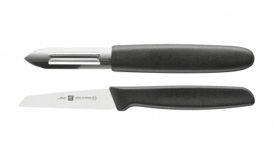 Juego de cuchillos, 2 pzs. (plástico, negro)