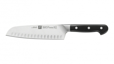 Santoku knife with hollow edge