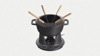 Juego de fondue negro, 18 cm
