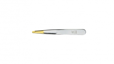 Tweezer, squared-off, gold-plated tips, nickel-plated