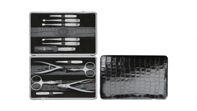 Crocodile Finish Calfskin Manicure Set, Black, 12 Pcs.