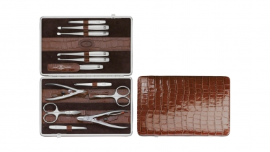 Crocodile Finish Calfskin Manicure Set, Cognac, 12 Pcs.