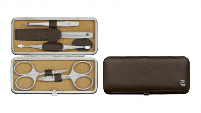 Elk Leather Manicure Set, Brown, 5 Pcs.