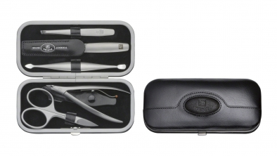 Embossed Calf Leather Manicure Set, Black, 5 Pcs.