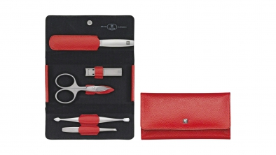 Textured Calf Leather Manicure Set, Red, 5 Pcs.