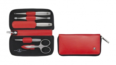 Calf Leather Manicure Set with Zip Closure, Red, 5 Pcs.