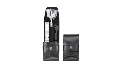 Calf Leather Pocket Manicure Set, Black, 2 Pcs.