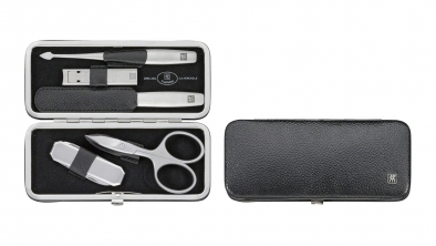 Calf Leather Rectangular Pocket Manicure Set, Black, 5 Pcs.