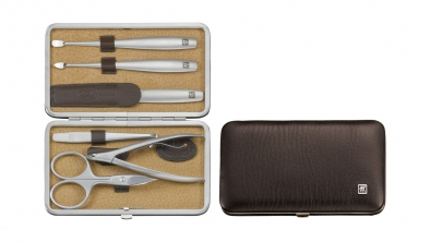 Elk Leather Manicure Set, Brown, 6 Pcs.