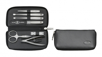 Nappa Leather Manicure Set with Zip Fastener, Black, 7 Pcs.