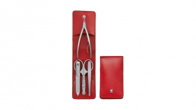 Nappa Leather Manicure Set, Red, 4 Pcs.
