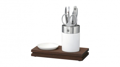 Porcelain and Steel Manicure Station with Dish, 5 Pcs.