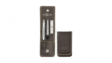 Nappa Leather Manicure Set, Brown, 3 Pcs.