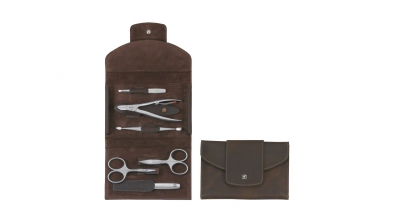 Calf Leather Manicure Set with Snap Fastener, Brown, 6 Pcs.
