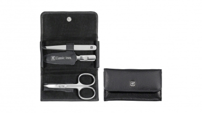 Calf Leather Pocket Manicure Set, Black, 3 Pcs.