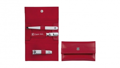 Calf Leather Pocket Manicure Set, Red, 3 Pcs.
