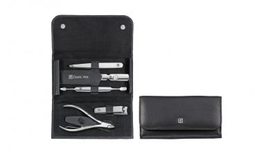 Calf Leather Manicure Set with Snap Fastener, Black, 5 Pcs.