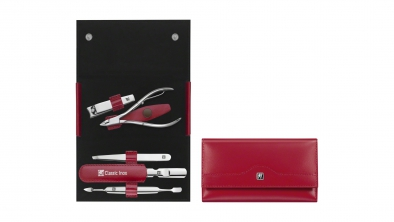 Calf Leather Manicure Set with Snap Fastener, Red, 5 Pcs.