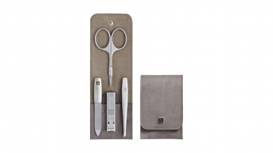 Calf Leather Pocket Manicure Set, Taupe, 4 Pcs.