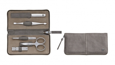 Calf Leather Manicure Set with Zip Closure, Taupe, 5 Pcs.