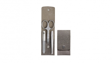 Textured Calf Leather Pocket Manicure Set, Taupe, 3 Pcs.