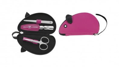 Leather Mouse Shaped Manicure Set, Pink, 3 Pcs.