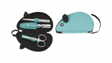 Leather Mouse Shaped Manicure Set, Turquoise, 3 Pcs.