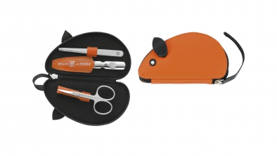 Leather Mouse Shaped Manicure Set, Orange, 3 Pcs.