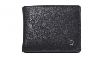 Calf Leather Wallet with TWIN S Nail Clippers, Black